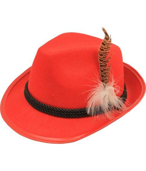 Rød filt tyrolerhat