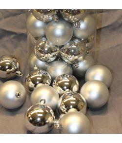 Sølv julekugler 6 cm, 50 stk