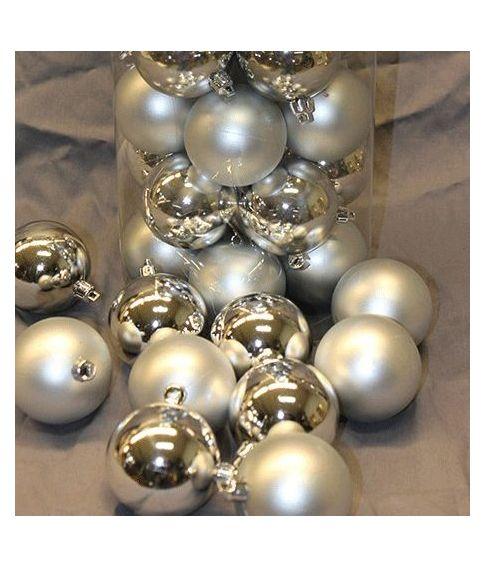 Kæmpestor 50 stk billige sølv julekugler til julepynt. RL06