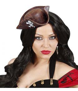 Mini pirat hat læderlook, brun