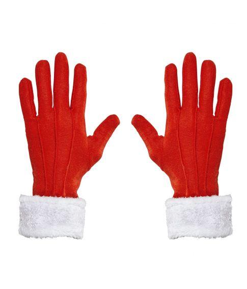 Røde handsker med plyskant