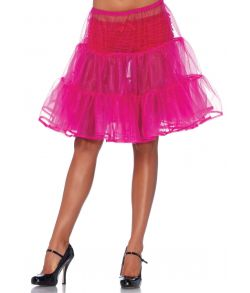 Fuchsia knælangt tylskørt til kostume.