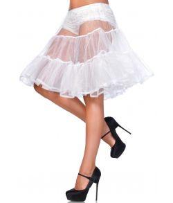 Hvidt knælangt tylskørt til kostume.