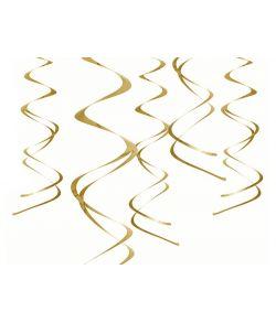Guld loftspiraler, 5 stk