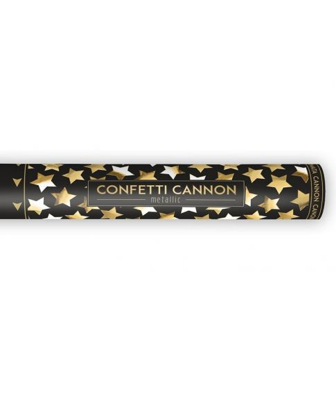 Konfetti kanon, 40 cm guld stjerner