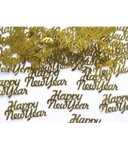 Happy new year konfetti guld