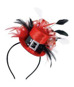 Mini tophat på hårbøjle, rød