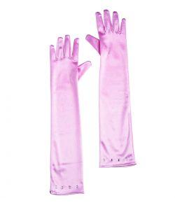 Lange lyserøde handsker til børn.