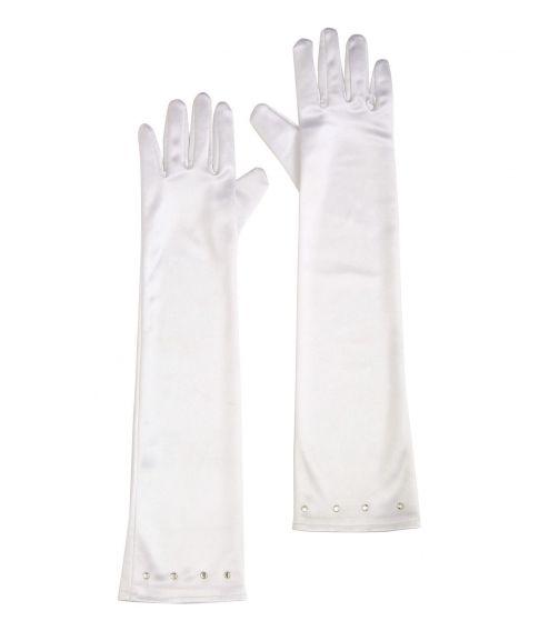 Hvide lange handsker til piger.