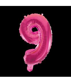 Folie tal ballon 9 pink, 41 cm.