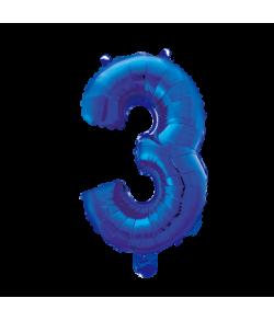 Folie tal ballon 3 blå, 41 cm