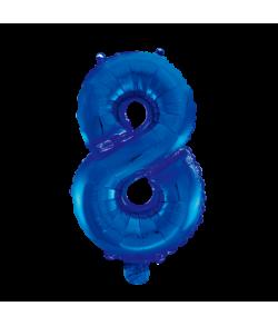Folie tal ballon 8 blå, 41 cm.