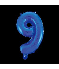 Folie tal ballon 9 blå, 41 cm.