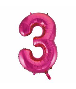 Folie tal ballon 3 pink, 86 cm.