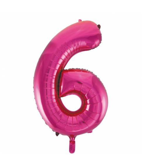 Folie tal ballon 6 pink, 86 cm.