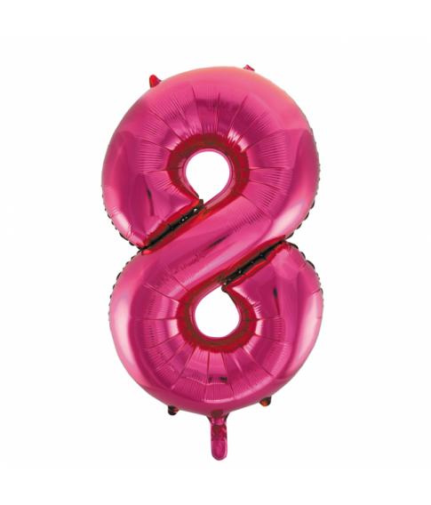 Folie tal ballon 8 pink, 86 cm.