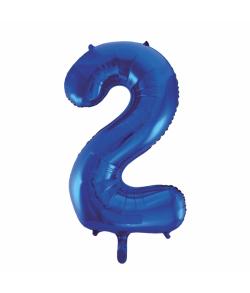 Folie tal ballon 2 blå, 86 cm.