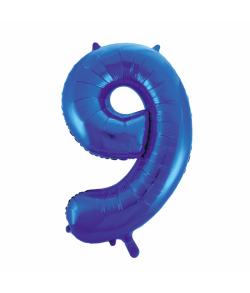 Folie tal ballon 9 blå, 86 cm.