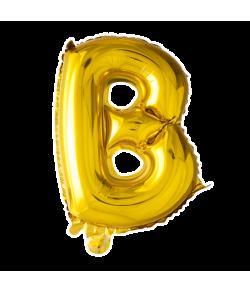 Guld folie bogstav ballon med bogstavet B.