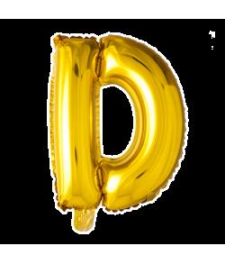 Guld folie bogstav ballon med bogstavet D.