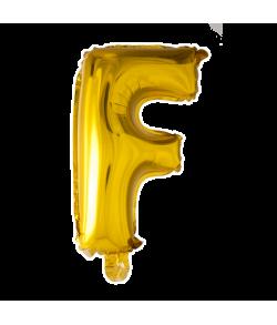 Guld folie bogstav ballon med bogstavet F.