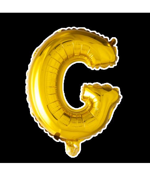 Guld folie bogstav ballon med bogstavet G.