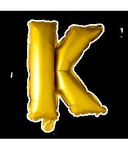 Guld folie ballon med bogstavet K.
