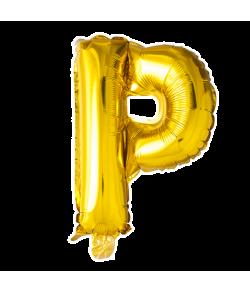 Guld folie ballon med bogstavet P.