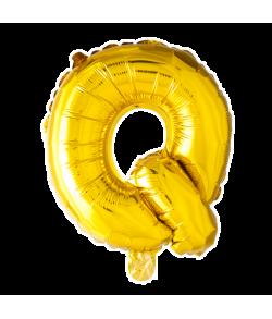 Guld folie ballon med bogstavet Q.