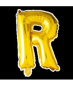 Guld folie ballon med bogstavet R.