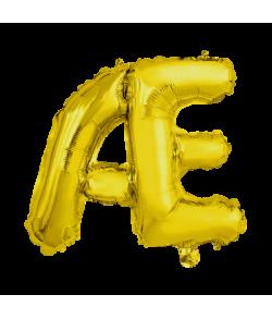 Guld folie bogstav ballon med bogstavet Æ.