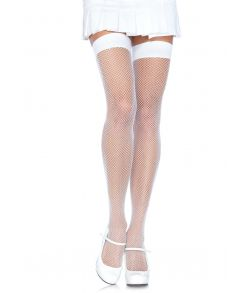 Hvide nylon net stockings.