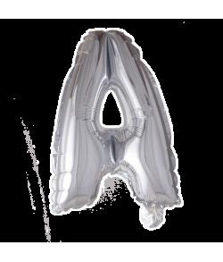 Sølv folie ballon med bogstavet A.