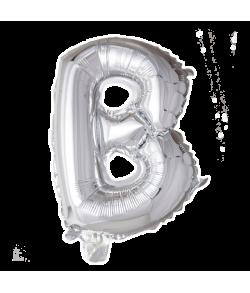 Sølv folie ballon med bogstavet B.