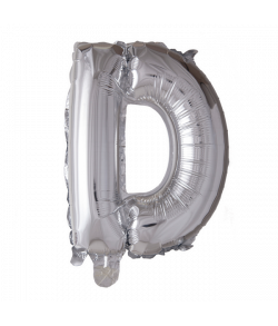Sølv folie ballon med bogstavet D.