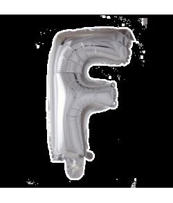 Sølv folie ballon med bogstavet F.