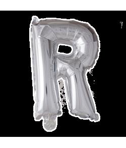 Sølv folie ballon med bogstavet R.