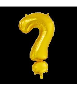 Guld folie ballon med spørgsmålstegn.