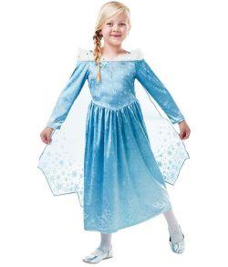 Frost Elsa kjole med gennemsigtig kappe.