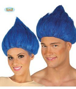 Blå Trolls paryk til voksne.