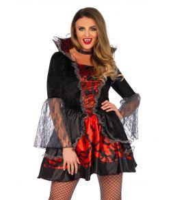 Flot vampyr kjole med flagermus og tylærmer.