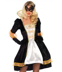 Flot renæssance kostume med kjole og halvmaske.