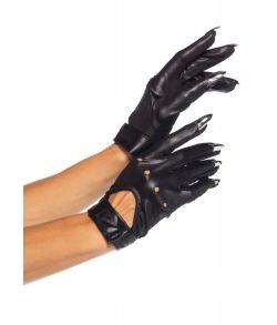 Sort korte handsker i læder-look med kløer.