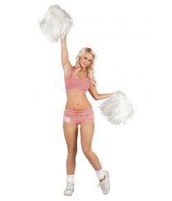 Hvid pompon med håndtag til Cheerleader udklædningen.