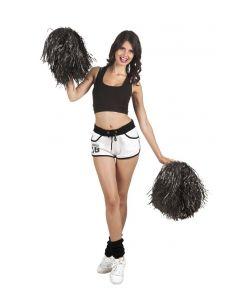 Sort pompon med håndtag til Cheerleader udklædningen.