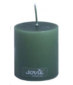 Jægergrønt Sovie bloklys med hvid kerne. 5x6 cm.