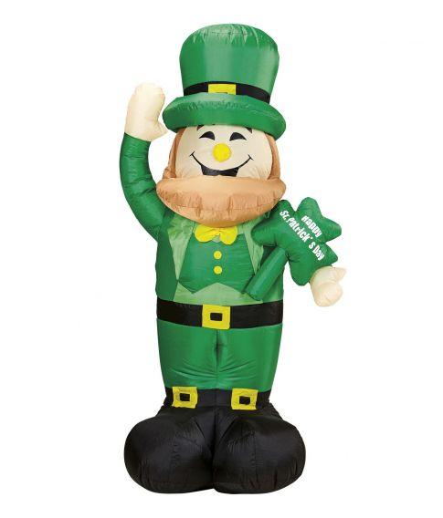 Oppustelig St. Patrick figur med lys. 150 cm.
