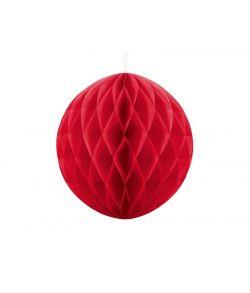 Rød papirskugle til juledekoration.