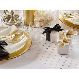 Hvid Organza bordløber med guld prikker