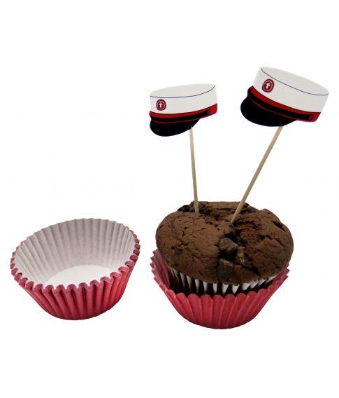 Student muffinsforme med rød hue sticks